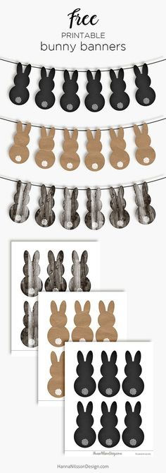 Free, printable, rustic–Easter bunny banners to use this spring! Easter Garland, Easter Banner, Easter Wreaths, Diy Easter Bunting, Bunny Crafts, Easter Crafts For Kids, Crafts To Do, Easter Décor, Rabbit Crafts