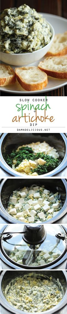 Slow Cooker Spinach and Artichoke Dip - Simply throw everything in the crockpot for the easiest, most effortless spinach and artichoke dip! Simply throw everything in the crockpot for the easiest, most effortless spinach and artichoke dip! Crock Pot Recipes, Crock Pot Cooking, Slow Cooker Recipes, Cooking Recipes, Appetizers For Party, Appetizer Recipes, Party Recipes, Dip Recipes, Make Ahead Appetizers