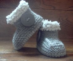 Hand Knitted Baby Booties/Boots/Slippers/Shoes UGG Sheepskin Style Button Soft Tops 0-12M UK Seller on Etsy, £11.50