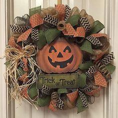 Halloween Burlap Wreath, Fall Welcome Wreath, Pumpkin Wreath in Home & Garden, Home Décor, Door Décor | eBay