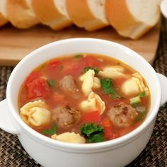 Hearty soup with Italian sausage, cheese tortellini, red peppers, tomatoes, and kale. This easy one pot soup makes a great main dish. Sausage Recipes, Pasta Recipes, Soup Recipes, Cooking Recipes, Healthy Recipes, Recipe Pasta, Cooking Fish, Healthy Soup, Fall Recipes