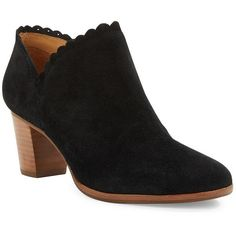 Jack Rogers Marianne Suede Ankle Boots ($168) ❤ liked on Polyvore featuring shoes, boots, ankle booties, black, suede ankle boots, black bootie, suede booties, stacked heel booties en short boots