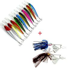 5pcs Fishing Lure & 2pcs Metal Jigs Swimbaits Jig Head