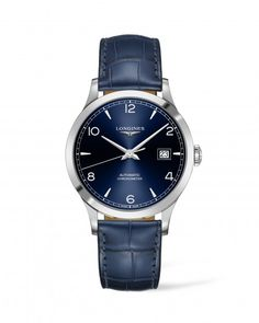 Record 40mm Blue Dial Automatic Image 1 Big Watches, Cool Watches, Watches For Men, Longines Watch Men, Bracelets Bleus, Watch Master, Swatch, Touch Of Gray, Bracelet Cuir