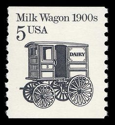 Milk Wagon of the Old Stamps, Vintage Stamps, Postage Stamp Art, 5 Cents, Stamp Collecting, Mail Art, Mint, United States, 1990s