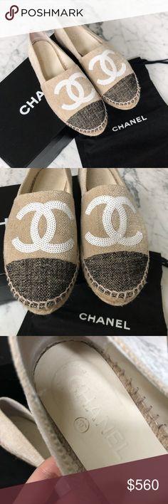 the latest 54593 e5d73 Authentic Chanel canvas sequin espadrilles 35