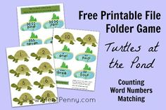 Free printable file folder game: Turtles at the Pond ~ and more free printables at Free Printable Friday