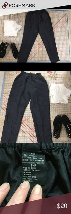 "EVR silk joggers size S/P In like new condition, lined 100% silk black joggers. Gathered elastic waist, on seam pockets and straight hemmed cuffs with 1/2"" split. Classic shape in a luxurious and cool natural fabric. Versatile. Dress them up or dress them down. Waist measures 12"" unstretched, rise is about 13"" and inseam is 28.5"". EVR Pants Track Pants & Joggers"