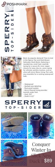 GREAT SHAPE!  Sperry TopSider waterproof duck boot Embrace the wet weather in these duck boots by Sperry TopSider!  Crafted from genuine leather, high-end rubber and ultra-plush micro fleece, they will keep you warm, dry and chic, in any weather!  The puddles will be a breeze in this stylish footwear, available in a tan/brown combo that will pair with nearly all your cold-weather attire!  Size is 8.  No trades please.  Gently worn, in near-perfect condition!  Retail at $120! Sperry Top-Sider…