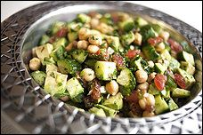 chickpea, cucumber, tomato avocado salad - just add a protein and you've got dinner!