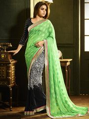 Green & Black Color Half Shimmer Chiffon & Half Georgette Casual Party Sarees : Misha Collection YF-27629