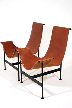 Leather Sling Lounge Chairs | From a unique collection of antique and modern lounge chairs at http://www.1stdibs.com/furniture/seating/lounge-chairs/