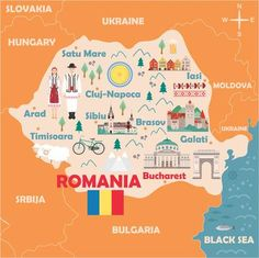 Illustration of Stylized map of Romania. Travel illustration with romanian landmarks, architecture, national flag and other symbols in flat style. Vector illustration vector art, clipart and stock vectors. Romania Map, Visit Romania, Romania Travel, Mall Of America, North America, Sweden Travel, London Pubs, Travel Illustration, Education Humor