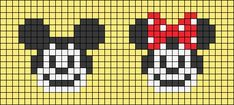 Alpha friendship bracelet pattern added by aailac. Cute Cross Stitch, Cross Stitch Bird, Cross Stitch Designs, Cross Stitch Embroidery, Cross Stitch Patterns, Mickey E Minie, Minnie, Hama Beads Disney, Macrame Bracelet Patterns