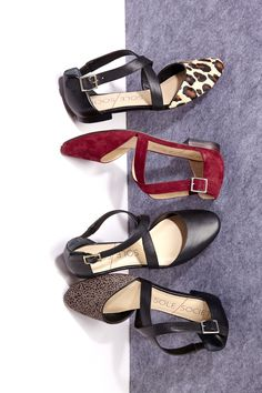 A new and improved update to the best-selling crisscrossed and buckled flat with a rounded toe.