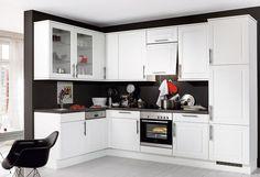 #Küche in Schwarz-Weiß #Eckküche www.dyk360-kuechen.de