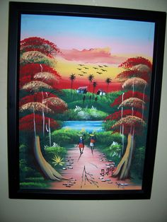 AFRICAN RED SUNSET signed oil Painting  Modern/Vintage framed *signed  Gorgeous !!! by LIZ404 on Etsy