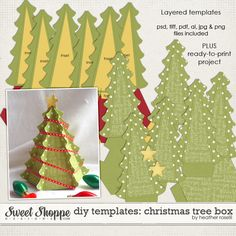 DIY Printable Templates: Christmas Tree Box by Heather Roselli