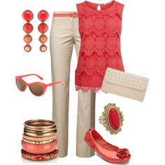 """""""Coral & Cream"""" by maggiesuedesigns on Polyvore"""