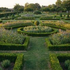 A view down the parterre to several fine examples of topiary in Westbury Court Garden, Gloucestershire Formal Garden Design, English Garden Design, Formal Gardens, Outdoor Gardens, Dream Garden, Garden Art, Herb Garden, Landscape Architecture, Landscape Design