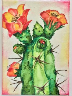 Items similar to Original Artwork - Watercolor on Canvas - Blooming Cactus - Desert Art - Sonoran Desert - - Ready to Frame on Etsy Cactus Painting, Watercolor Cactus, Cactus Art, Watercolor Paintings, Cactus Plants, Watercolors, Tumblr Art, Desert Art, Southwest Art