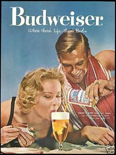 Beaches Beer Bikinis Features - A 1958 Vintage Budweiser Beer Ad. Old Advertisements, Retro Advertising, Retro Ads, Pin Up, Vintage Signs, Vintage Ads, Poster Retro, Beer Poster, Old Ads