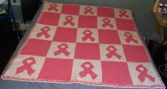 Crocheted Pink Ribbon Cancer Afghan. Design by Patti M. Sanders.