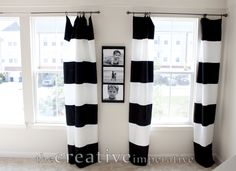 Black And White Horizontal Striped Curtains {made From Walmart Tablecloths}