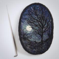 needle felted miniature - starry night - wool painting - needle felted painting…
