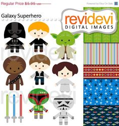 SALE 40 OFF Cliparts Galaxy Superhero 07471.. by revidevi on Etsy, $3.57