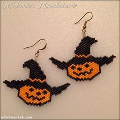 ring Pumpkin Head Witch Hat Earrings Hand Beaded Delica Glass Seed Beads by Beaded Earrings Patterns, Seed Bead Patterns, Jewelry Patterns, Beading Patterns, Bracelet Patterns, Halloween Beads, Halloween Earrings, Halloween Jewelry, Seed Bead Jewelry