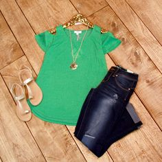 Summer Spruce Top is right on trend. This heathered green top features a cold shoulder style with short sleeves.