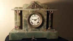 Gorgeous Green Onyx Antique Ansonia Clock. This may just be my favorite clock in our entire collection!