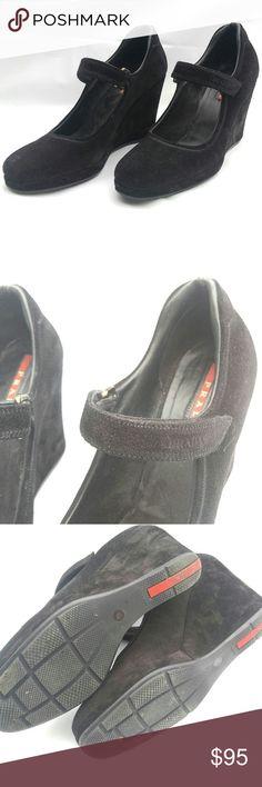 Prada suede velcro wedges Vintage Prada suede wedges with velcro. Prada Shoes Wedges