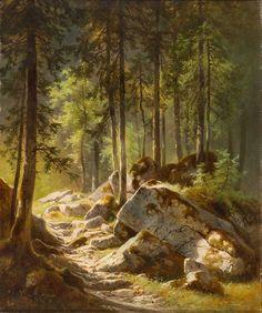 Lichtung im Wald mit sonnigem Lichteinfall | Carl Hasch
