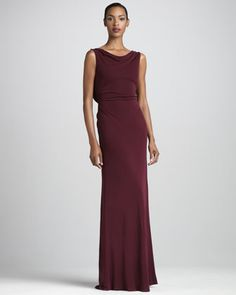 love the back.   Bead-Back Jersey Gown by Badgley Mischka at Neiman Marcus.
