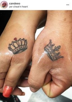 Queen & King Couples tattoos by Candeeo Couple Tattoos Love, Finger Tattoos For Couples, Hand Tattoos For Guys, Tattoos For Lovers, Couples Tattoo Designs, Dope Tattoos, Mini Tattoos, Mommy Tattoos, Small Tattoos