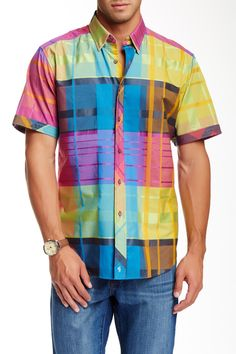 Darts Plaid Short Sleeve Classic Fit Shirt by Robert Graham on @nordstrom_rack