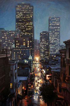 Sung Eun Kim, Rain Night on Kearny, oil, 36 x - Southwest Art Magazine New York Painting, City Painting, Oil Painting Abstract, Skyline Painting, City Landscape, Urban Landscape, Banksy Artwork, Acrilic Paintings, Abstract City