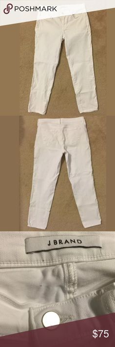 J Brand Jeans White Cropped Ellis Awakened Sz 27 J Brand Jeans White Cropped Ellis Awakened Sz 27 Boyfriend cut never worn.                                   Modeled after the classic Ellis straight leg, the Cropped Ellis features a top block that sits low and relaxed at the waist, a cropped hem, and is designed in our comfort white denim with a polished silver shank.   9057A437 J Brand Jeans Ankle & Cropped