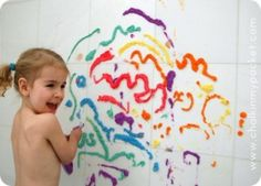 25 Indoor Toddler Activities! ~ This is homemade bathtub puffy paint: all you need is soap, food coloring, and water!