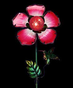 Red Solar Glass Flower Garden Stake #zulily #zulilyfinds
