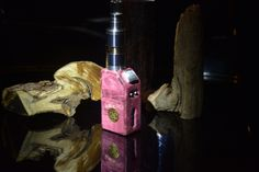 Goliath 18350 powered evolv dna 40 , stabilized wood , hybrid fire button