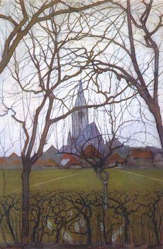 Page: Village Church Artist: Piet Mondrian Completion Date: 1898 Style: Post-Impressionism Genre: cityscape Technique: charcoal, gouache, pastel, pencil, watercolor Material: paper Dimensions: 75 x 50 cm
