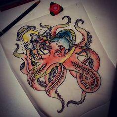 +++STA.DEMONIA TATTOO BARCELONA APRENTICE:SARA+++ Propuesta x Janna! www.stademonia.com #StaDemonia #Tattoo #Barcelona #Aprendiz #Sara #Aprentice #OldSchool #Tradicional #Flash #Pulpo #Octopussy #DykeHard #LesbianPower