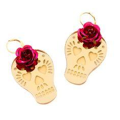Flower Skull Earrings via fab.com - My kinda lady like detail for Halloween/Dia De Los Muertos festivities