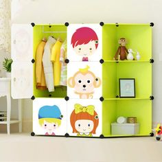 Children Furniture Children Wardrobes Lower Price with New Childrens Cartoon Plastic Assembly Simple Wardrobe Lockers Storage Cabinets Resin Composition Baby For Kit Child Convenient To Cook