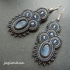 Blue and grey Kyanite beaded earrings Bead Embroidery Tutorial, Bead Embroidery Jewelry, Beaded Embroidery, Long Tassel Earrings, Seed Bead Earrings, Beaded Earrings, Handmade Beaded Jewelry, Earrings Handmade, Bead Loom Bracelets