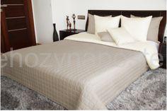 Luxusné obojstranné prehozy na posteľ krémovo béžovej farby