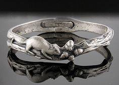 Bijoux Extraordinaire ... antique baby bracelet, repousse mouse and acorns. c. 1880